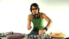 Cool male dj. A cool male dj on the turntables stock video footage