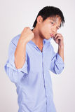 Cool man adjusting his collar Royalty Free Stock Photo
