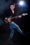 Cool man with electric guitar Stock Photo