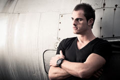 Cool Man with Fighter Jet Royalty Free Stock Photography