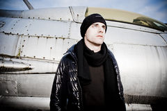 Cool Man and a Fighter Plane Stock Photography