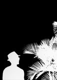 Cool Man with Hat and Palm Trees Silhouettes Royalty Free Stock Images