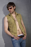Cool man with open shirt Stock Photography
