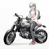 Cool man riding motorcycle. Illustration sketch of cool man riding motorcycle Royalty Free Stock Photo
