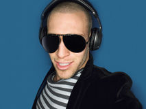 Cool Man Wearing Headphones And Sunglasses Stock Photos