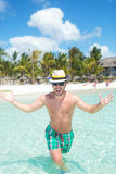 Cool man welcoming you to the beach Royalty Free Stock Images