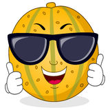 Cool Melon Character with Sunglasses. A cool cartoon yellow melon character smiling with thumbs up and sunglasses, isolated on white background. Eps file Stock Photo