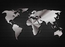 Cool metalic map of the world on the carbon Stock Photos