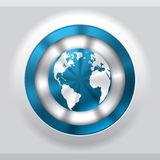 Cool metallic button with blue globe Stock Photo