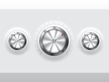 Cool metallic knobs Stock Images