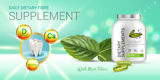 Cool mint dietary supplement ads. Vector Illustration with honey supplement contained in bottle and mint leaves elements. Royalty Free Stock Photos