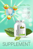 Cool mint dietary supplement ads. Vector Illustration with honey supplement contained in bottle and mint leaves elements. Royalty Free Stock Image