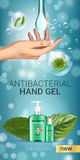 Cool mint flavor Antibacterial hand gel ads. Vector Illustration with antiseptic hand gel in bottles and mint leaves elements. Vertical banner Royalty Free Stock Photos