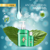 Cool mint flavor Antibacterial hand gel ads. Vector Illustration with antiseptic hand gel in bottles and mint leaves elements. Poster Stock Photography