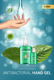 Cool mint flavor Antibacterial hand gel ads. Vector Illustration with antiseptic hand gel in bottles and mint leaves elements. Vertical poster Royalty Free Stock Image