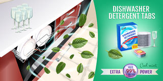 Cool mint fragrance dishwasher detergent tabs ads. Vector realistic Illustration with dishwasher in kitchen counter and detergent Stock Photography