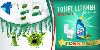 Cool mint fragrance toilet cleaner ads. Cleaner bobs kill germs inside toilet bowl. Vector realistic illustration. Horizontal bann Stock Images