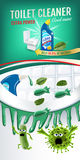 Cool mint fragrance toilet cleaner ads. Cleaner bobs kill germs inside toilet bowl. Vector realistic illustration. Vertical banner Royalty Free Stock Image
