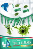 Cool mint fragrance toilet cleaner ads. Cleaner bobs kill germs inside toilet bowl. Vector realistic illustration. Vertical poster Stock Image