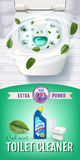 Cool mint fragrance toilet cleaner gel ads. Royalty Free Stock Photo