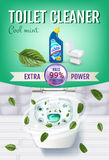 Cool mint fragrance toilet cleaner gel ads. Stock Photography