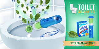 Cool mint fragrance toilet cleaner gel disc ads. Vector realistic Illustration with toilet bowl gel dispenser and gel discs. Horiz Royalty Free Stock Image