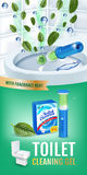 Cool mint fragrance toilet cleaner gel disc ads. Vector realistic Illustration with toilet bowl gel dispenser and gel discs. Verti Stock Image