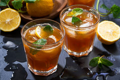 Cool mint iced tea, top view Royalty Free Stock Photography