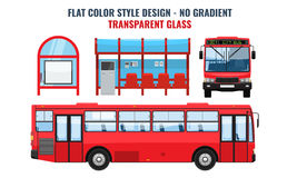 Cool modern flat design public transport. Bus stop structure and city bus. Side and front view, isolated. Flat and solid color design Stock Photo