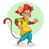 Cool monkey dancing in modern clothes. Vector flat cartoon illustration. Chimpanzee mascot. stock photo