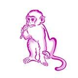 Cool monkey T-shirt graphics, chimpanzee watercolor illustration Royalty Free Stock Photo