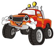 Cool monster truck. Face of monster truck show gesture rock and roll stock illustration