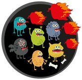Cool monsters with fire. Vector illustration Royalty Free Stock Image