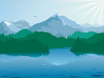 Cool morning at the mountain lake Royalty Free Stock Photography