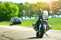 Cool motorcycle parked stock images