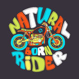 Cool motorcycle print design, vector illustration royalty free illustration