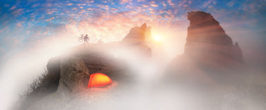 Cool MTB racer at sunrise in Crimea Stock Images