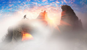 Cool MTB racer at sunrise in Crimea Stock Photos