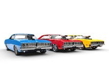 Cool muscle cars - primary colors Royalty Free Stock Photos