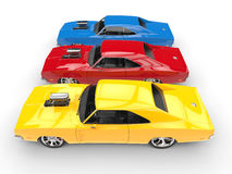 Cool muscle cars - primary colors - top side view Stock Photos