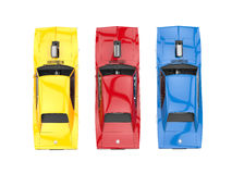 Cool muscle cars - primary colors - top view Royalty Free Stock Images