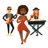 Cool music band performs pop song  illustration Stock Images