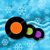 Cool music design. Cool winter music background with vinyl records, show and ice stock illustration