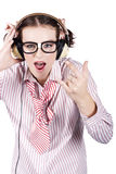 Cool Music Nerd Rocking Out To Metal On Headphones Stock Photography