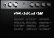 Cool music theme poster template with amplifier volume button royalty free illustration