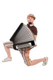 Cool musician with accordion Royalty Free Stock Image