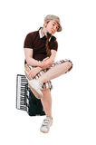Cool musician with accordion Royalty Free Stock Photography
