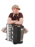 Cool musician with accordion Royalty Free Stock Images