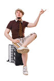 Cool musician with concertina Royalty Free Stock Photos