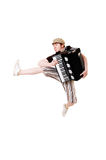 Cool musician jumping high Royalty Free Stock Image